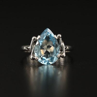 Platinum 3.24 CT Aquamarine Solitaire Ring