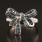 Sterling Diamond Bow Ring with Enameled Accents