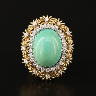 Vintage 18K Turquoise and Diamond Floral Motif Ring