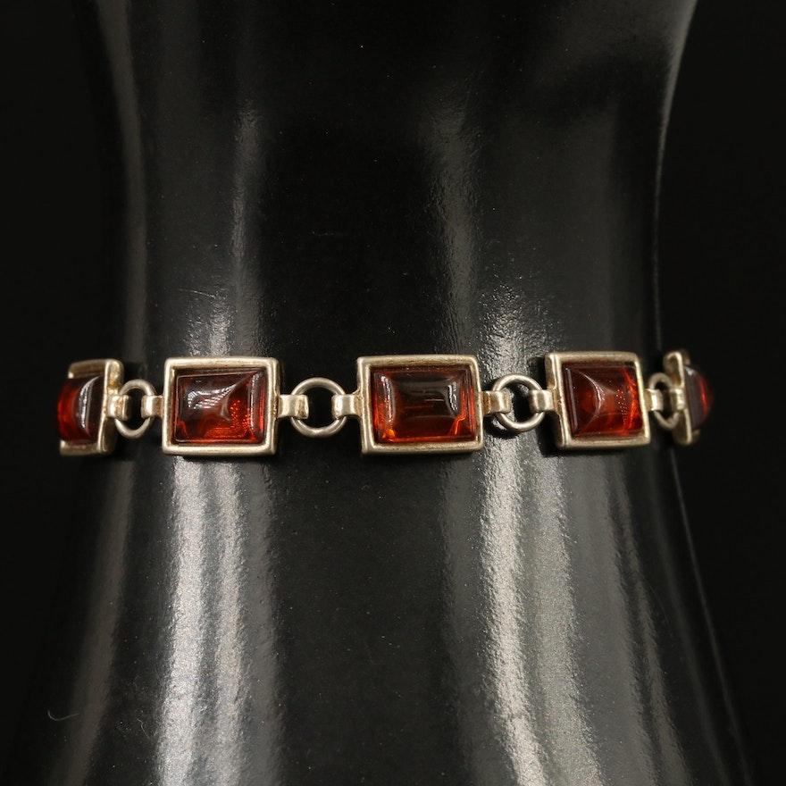 Sterling Silver Bezel Set Amber Bracelet