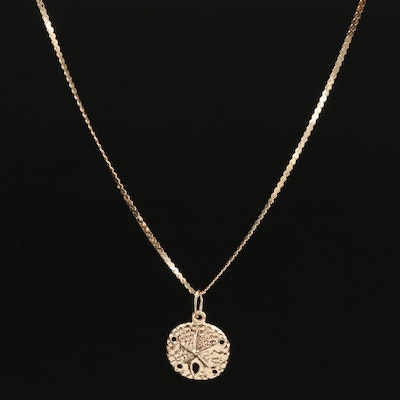 14K Sand Dollar Pendant Necklace