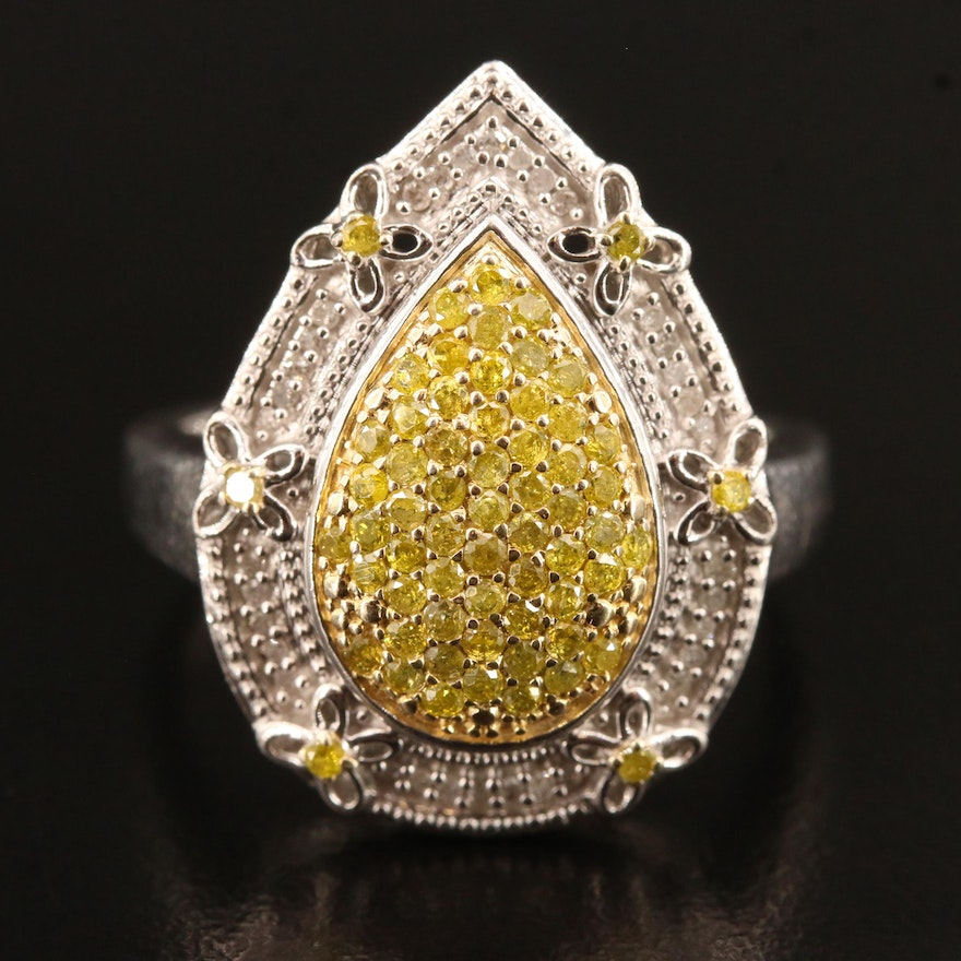 Sterling Silver Pavé Diamond Ring with Butterfly Accents