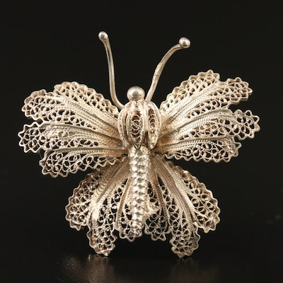 Sterling Silver Filigree Butterfly Brooch