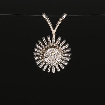 14K Diamond Pendant Featuring Starburst Design