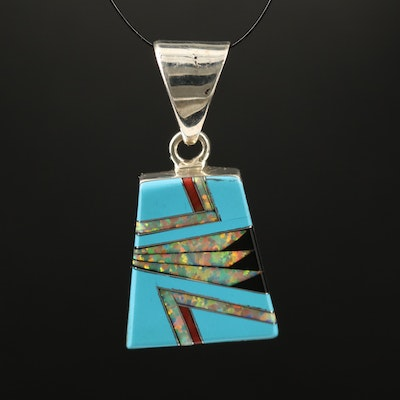 Signed Western Sterling Silver Inlay Pendant