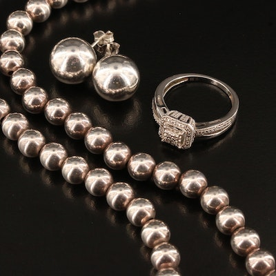 Sterling Silver Diamond Ring, Bead Necklace and Stud Earrings