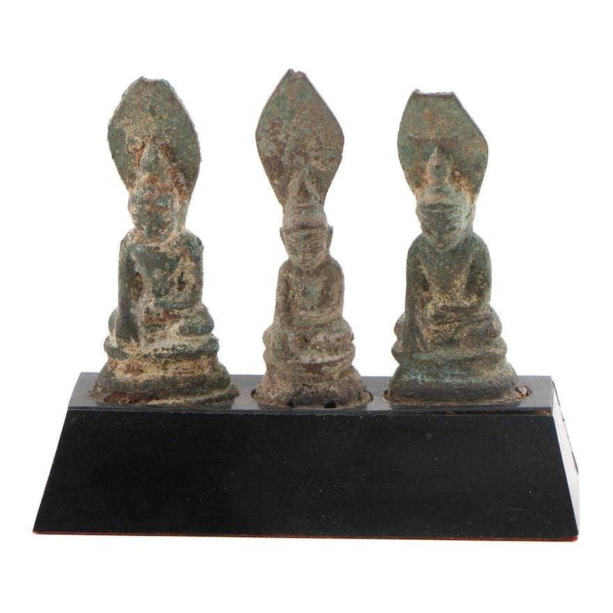 Three Small Burmese Shan Bronze Figures of Buddha in Bhumisparsha Mudra