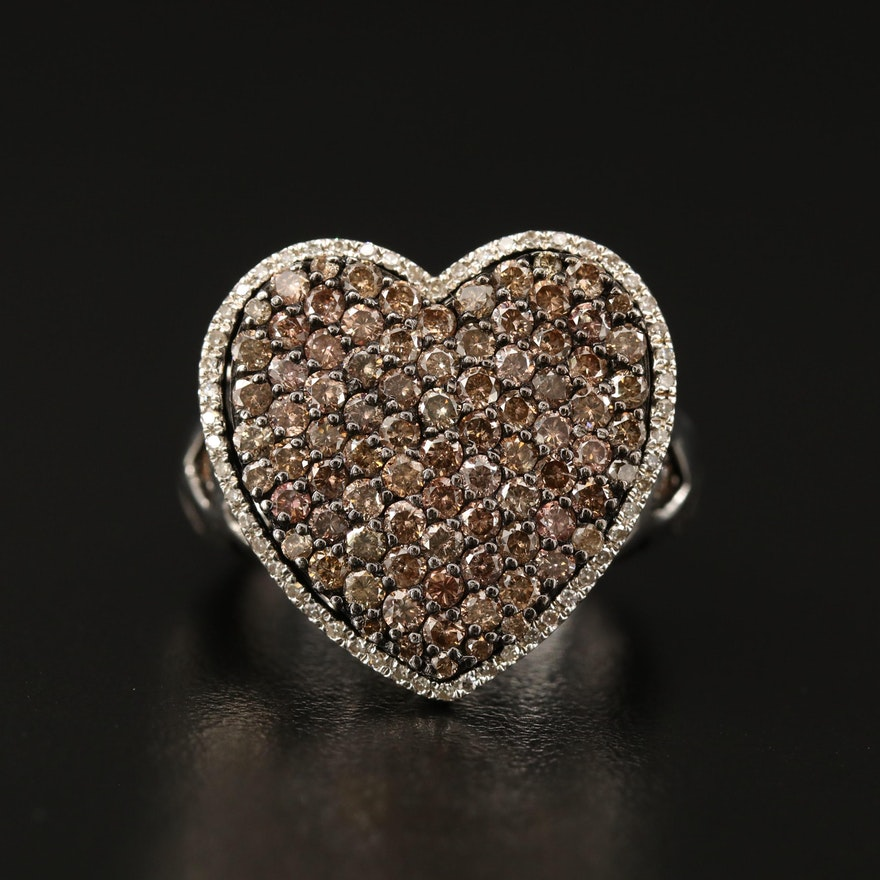 Sterling Silver 3.76 CTW Diamond Heart Motif Ring