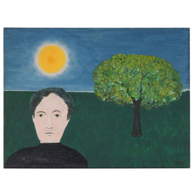 "Francisco Sainz Folk Art Oil Painting ""Self Portrait"", 1960"