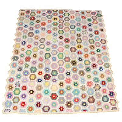 "Handmade ""Grandmother's Flower Garden"" Scalloped Edged Quilt"