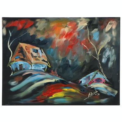 "Adedotun Adesida Abstract Expressionist Style Oil Painting ""On the Hill"", 2020"