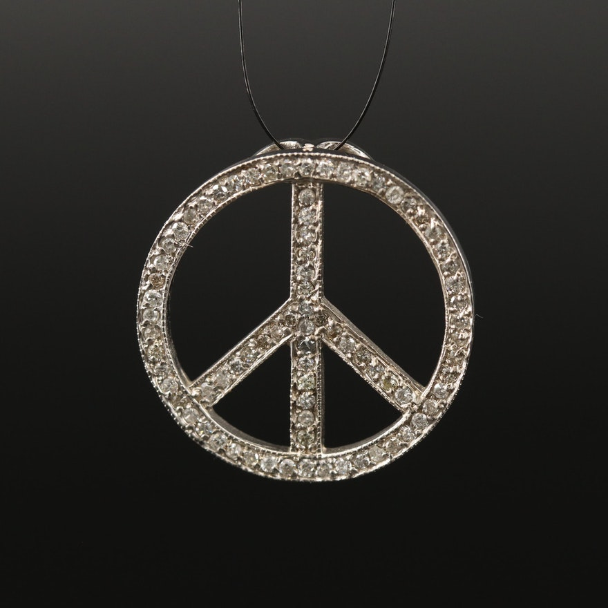 14K Diamond Peace Sign Pendant