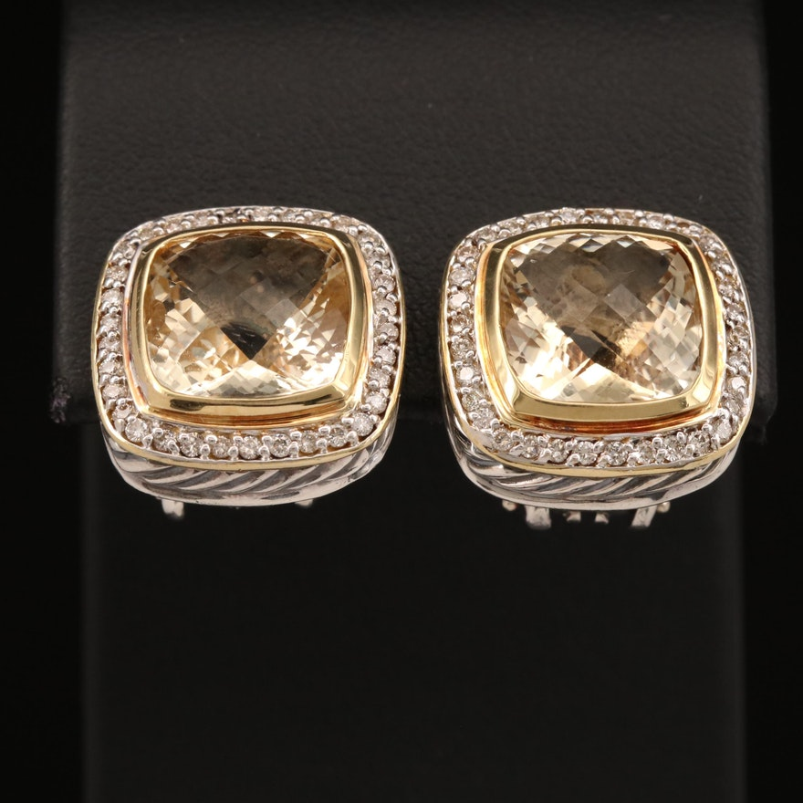 """David Yurman """"Albion"""" Sterling Citrine Earrings with Diamonds and 18K Accents"""