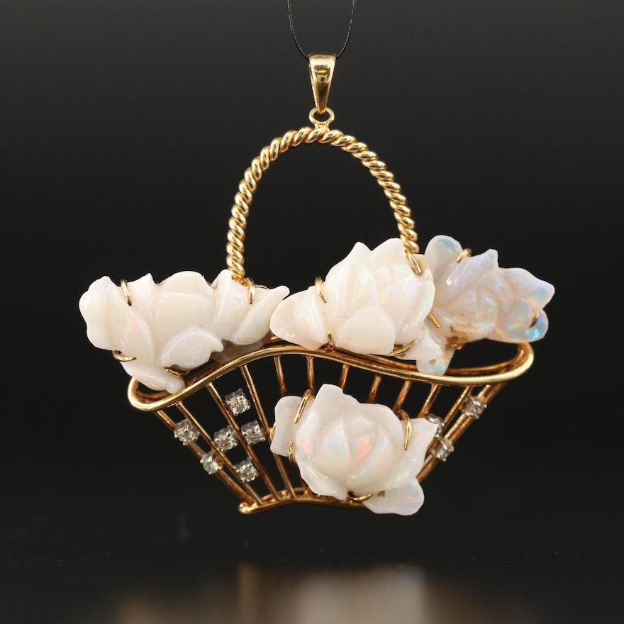 14K Opal and Diamond Flower Basket Pendant