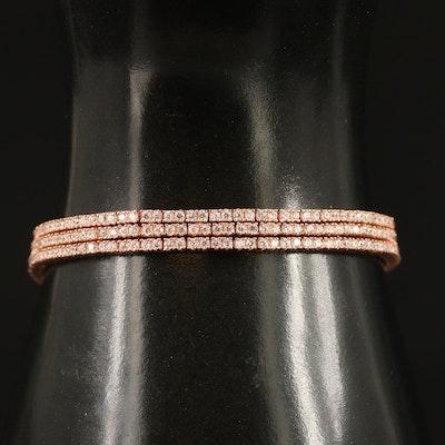 Sterling Silver Cubic Zirconia Line Triple Strand Bracelet