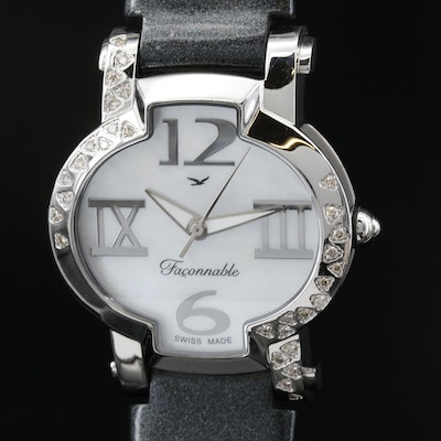 "Façonnable ""Lady Hydra"" Diamond, MOP and Stainless Steel Quartz Wristwatch"