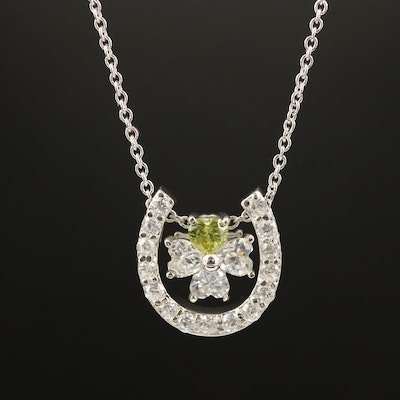 Sterling Cubic Zirconia Horseshoe and Clover Necklace