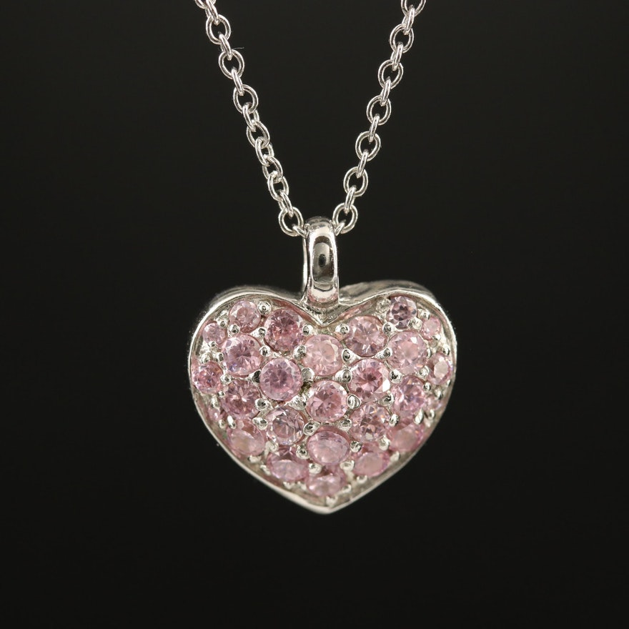 Sterling Pavé Pink and White Cubic Zirconia Reversible Heart Pendant