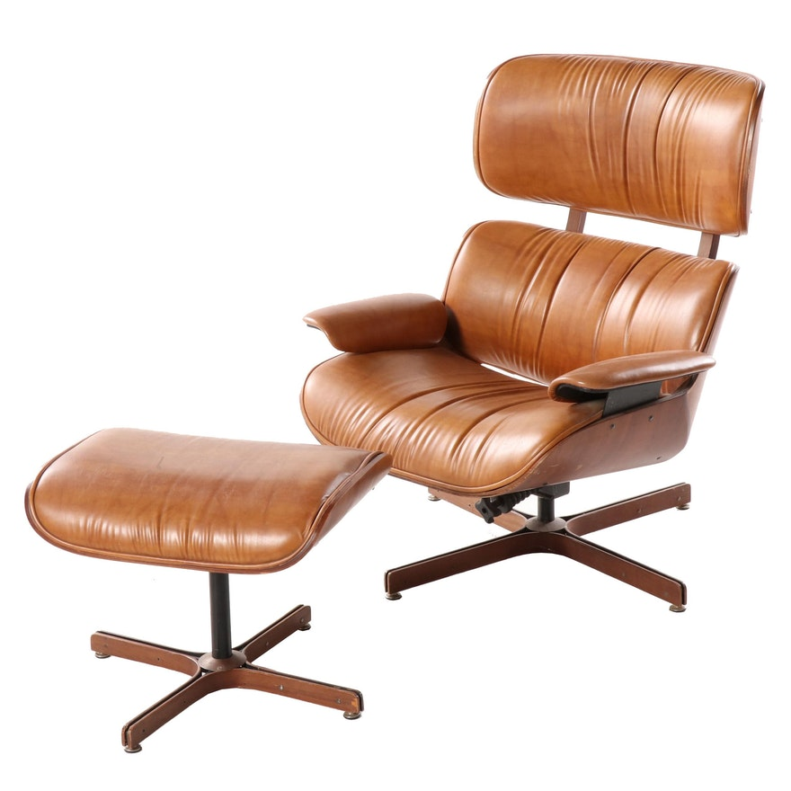 Eames Style Laminated Wood and Cognac Leather Lounge Chair and Ottoman, 20th C.