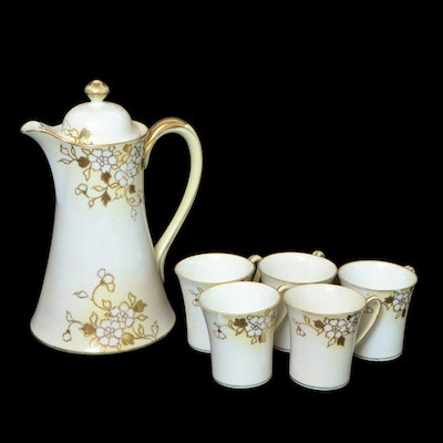 Noritake Hand-Painted Porcelain Chocolate Set, Early to Mid-20th Century