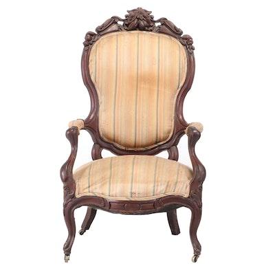 Victorian Rococo Revival Walnut Armchair, Third Quarter 19th Century