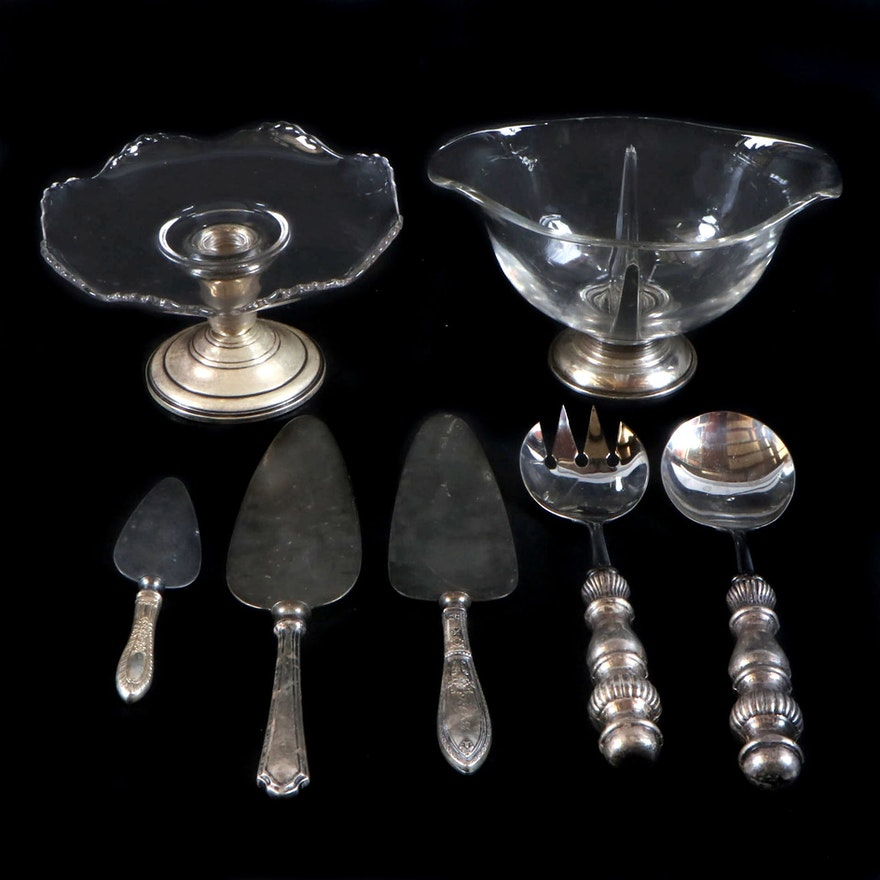 Whiting Weighted Sterling and Glass Compote and Other Sterling Tableware