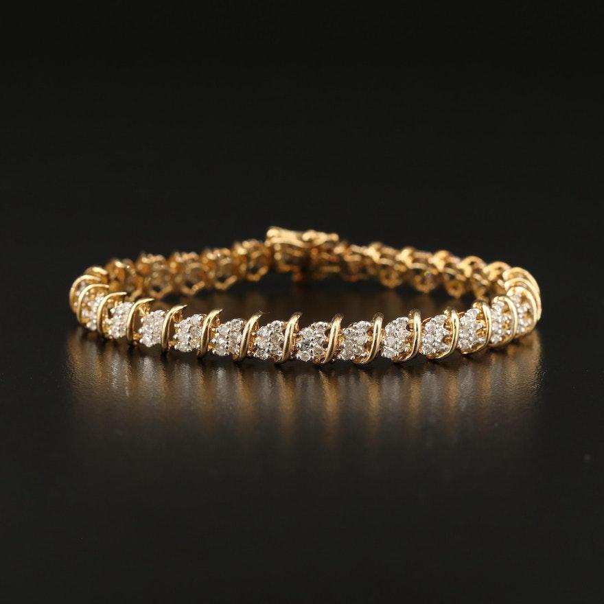 10K 2.85 CTW Diamond Link Bracelet