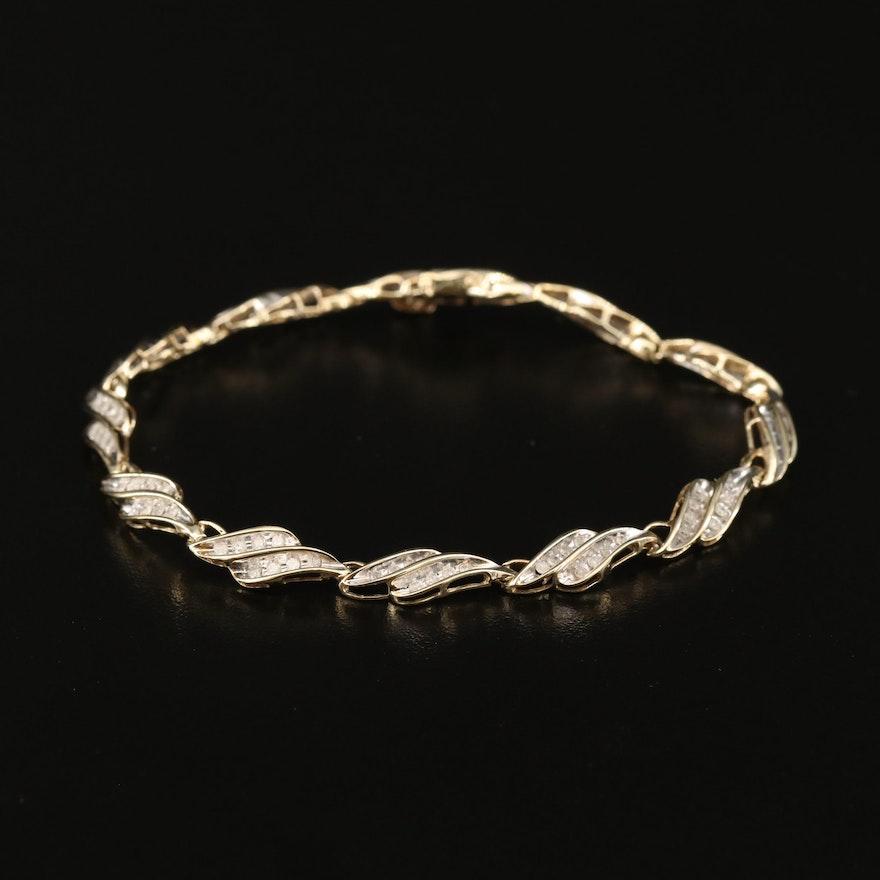 10K 1.27 CTW Diamond Fancy Link Bracelet