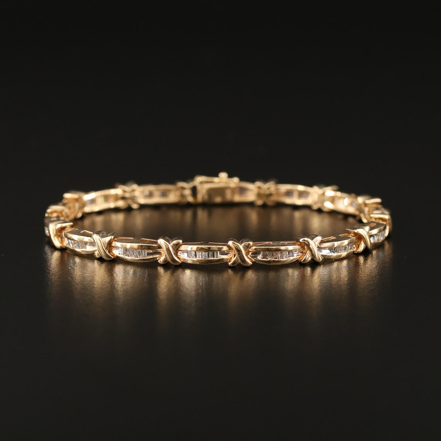 14K Diamond Fancy Link Bracelet