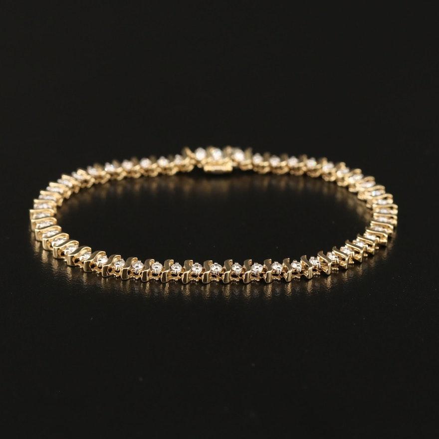 14K 2.20 CTW Diamond S-Link Bracelet