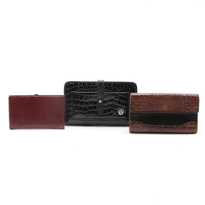 Brahmin and Spartina Leather Bifold Wallets with Vintage Leather Card Case