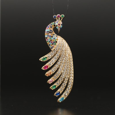 14K Multi-Gemstone Peacock Pendant Including Rubies and Emeralds