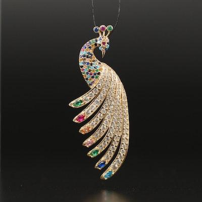 14K Multi-Gemstone Peacock Pendant Including Rubies and Emeralds