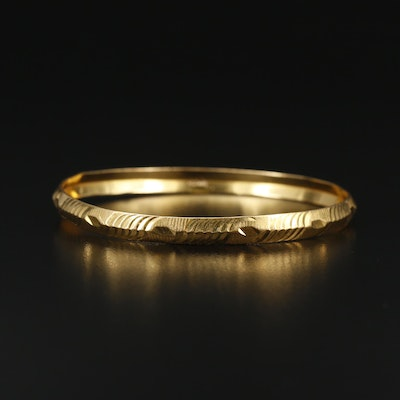 14K Etched Knife Edge Bangle