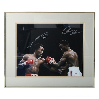 Sugar Ray Leonard and Thomas Hearns Signed Framed Boxing Photo Print, PSA COA