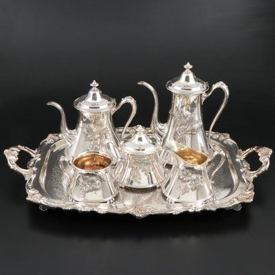Pairpoint Mfg. Co. Silver Plate Grapevine Tea and Coffee Set with Other Tray