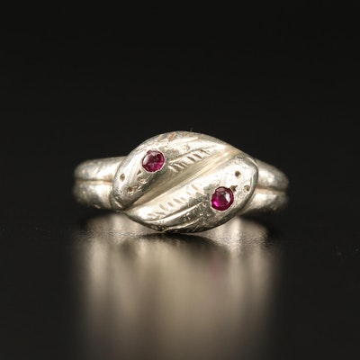 Sterling Silver Double Snake Ruby Ring