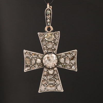 10K and 800 Silver Diamond Maltese Cross Pendant