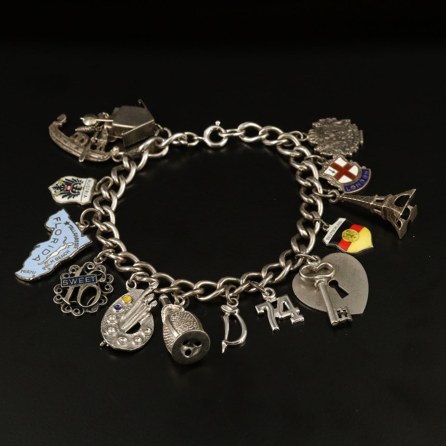 Sterling Silver Charm Bracelet with Mixed Metal Travel Themed Charms