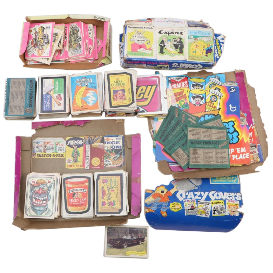 """Topps, Fleer and Donruss """"Wacky Packages"""" Stickers and Cards, 1970s"""