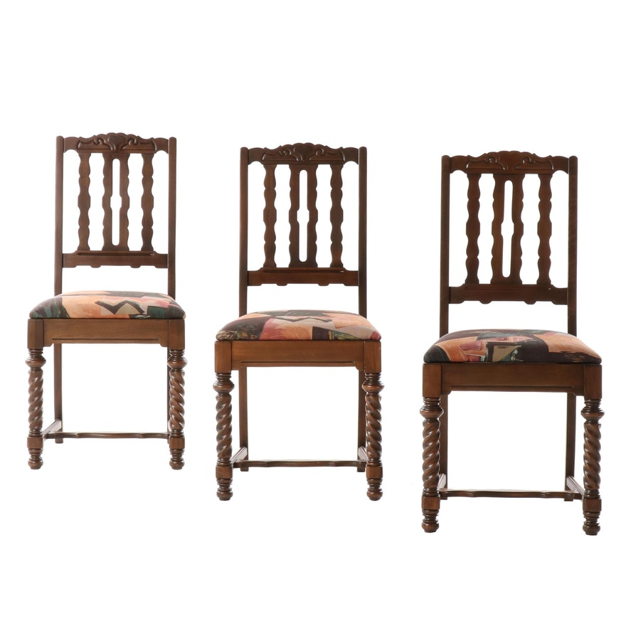 Tudor Revival Style Walnut Barley Twist Side Chairs, Three