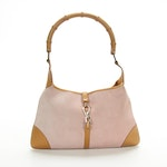 Gucci Jackie Shoulder Bag in Pink Suede and Leather with Bamboo Handle