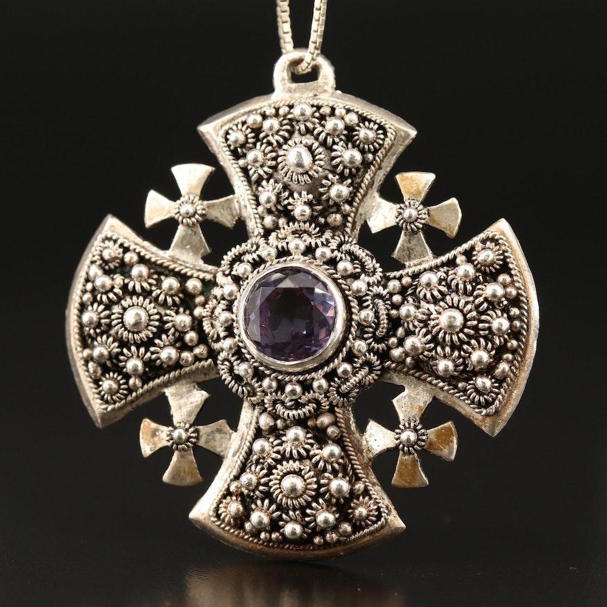 Sterling Silver Color-Change Sapphire Jerusalem Cross Pendant Necklace