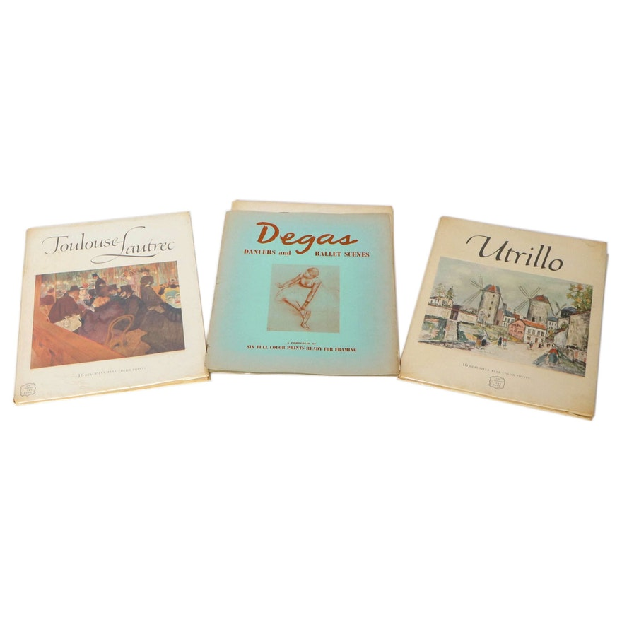Degas, Lautrec, and Utrillo Art Books, Mid-20th Century