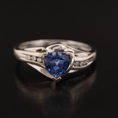 10K Sapphire and Channel Set Diamond Ring