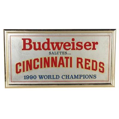 """1990 Budweiser Beer """"Salutes 1990 Cincinnati Reds World Champions"""" Wall Mirror"""