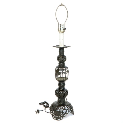 Victorian Style Cast Iron Table Lamp, Mid 20th Century