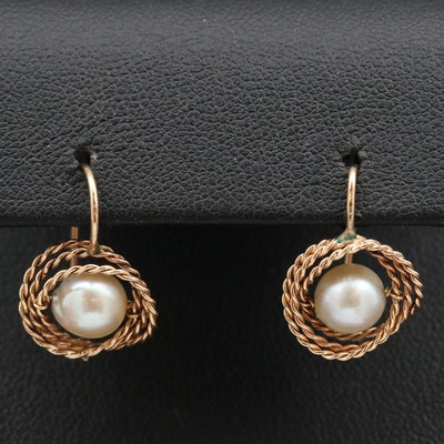 14K Pearl Twisted Rope Earrings