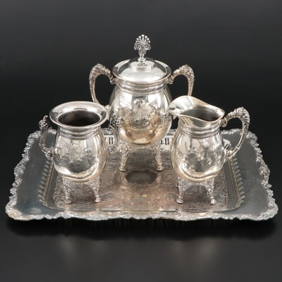 Meriden Britannia Silver Plate Creamer, Sugar and Waste Bowl with Oneida Tray