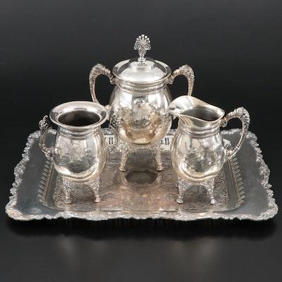 Meriden Britannia Silver Plate Creamer, Sugar and Waste Bowl with Oneida Tray